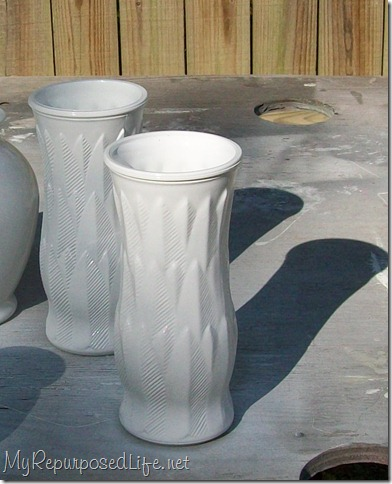 spray painting glassware and vases my repurposed life. Black Bedroom Furniture Sets. Home Design Ideas
