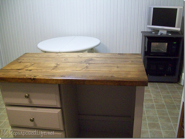 Repurposed Desk into Kitchen Island Craft Station