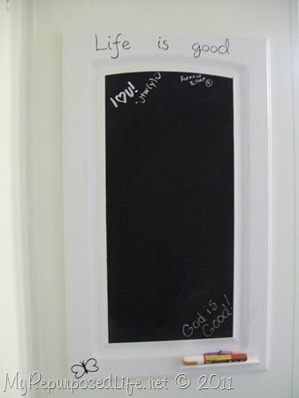 vinyl on repurposed chalkboard