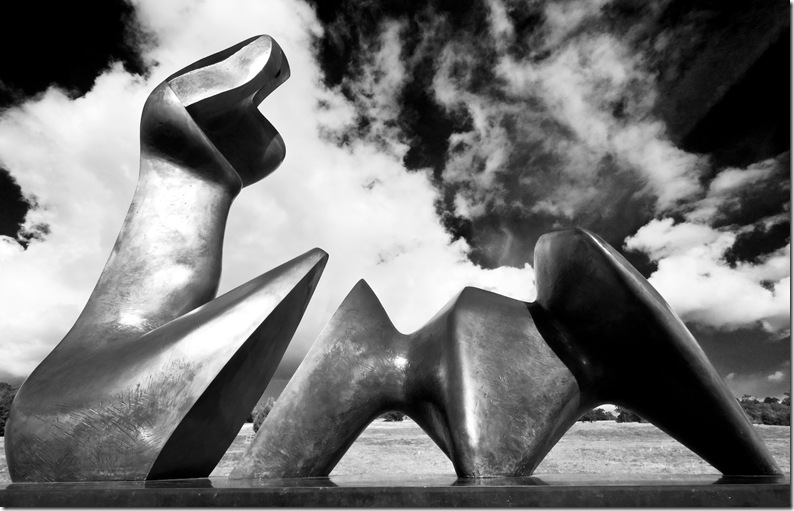 Henry Moore 2 piece reclining figure cut profile view