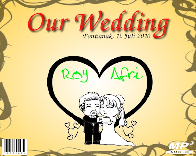 contoh desain cd souvenir pernikahan depan