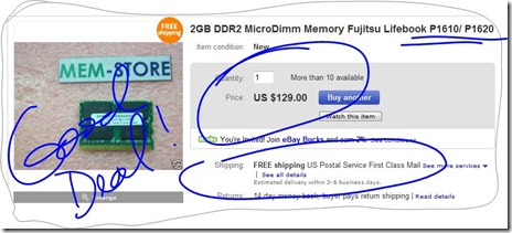 2GB DDR2 Micro Dimm Memory Fujitsu Lifebook MicroDIMM