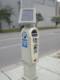 Solar powered pay-and-display parking meter.