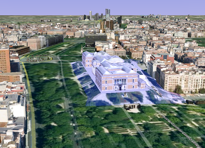 Screen shot of the 3-D Museo del Prado in Google Earth