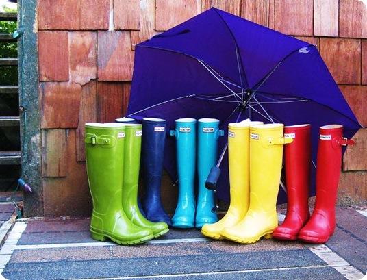hunter boots pea green purple turquoise yellow red rainbow umbrella ketchikan alaska outdoors trendy style