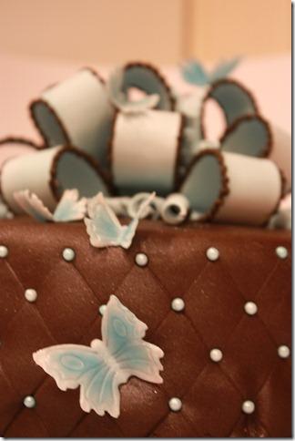 brun og blå kake