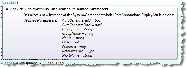 Display attribute parameters