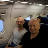 My father and I on the flight from JFK to Kiev