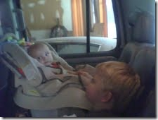 Will and Liam in the car
