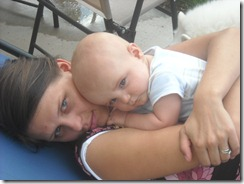 Cuddling with mom