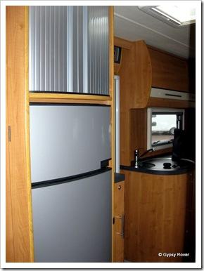 170 litre fridge freezer with 3 way memory for 240v/12v/gas operation.