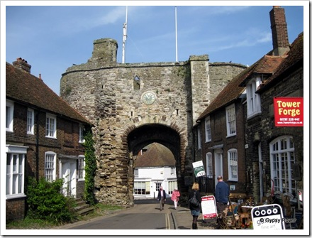 Landgate the only remaining gateway entrance to Rye, built in 1329. There used to be a portcullis which has long since been removed.