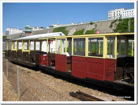 Volks Electric railway at Brighton. The oldest surviving electric railway in the world.