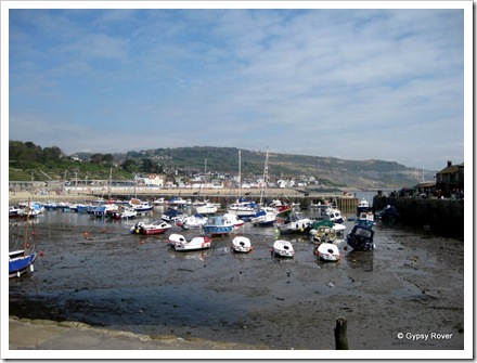Lyme Regis harbour at low tide. The movie the French Lieutenants Woman was filmed here.