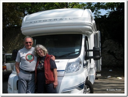 Derek and distant relative Janet Davies at Camborne in Cornwall.