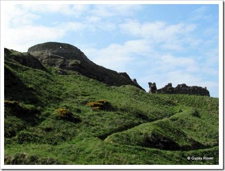 Tintagel castle built on a cliff top.