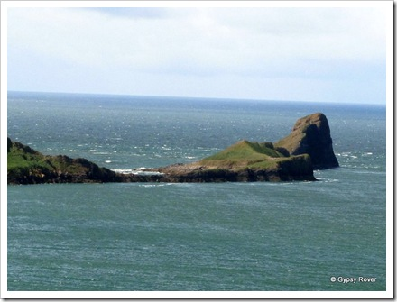 The causeway out to Worms Head. Only accessible 2 hours each side of low tide.
