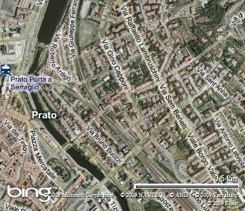 Veduta dal satellite del quartiere de La Pietà di Prato