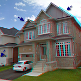 The same house with the 3D effect enabled. Here you can very clearly see the double view.