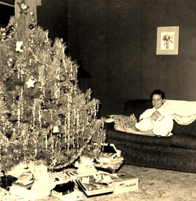 Karen Christmas on sofa 1956