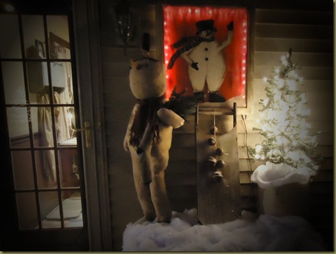 Snowman at back door NIGHT