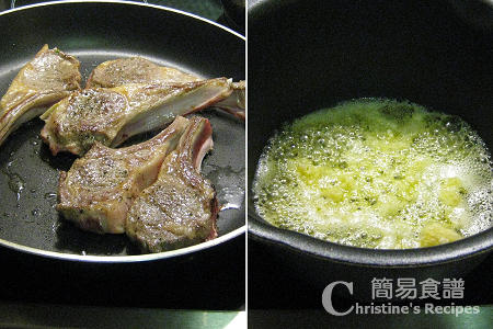 煎羊扒配蒜蓉牛油汁製作圖 Lamb Cutlets with Garlic Butter Sauce Procedures