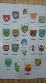 Uno de las varias gigantografías con los 192 escudos eslovenos