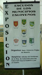 El cartel de bienvenida al stand cultural esloveno. Colectividades 2008.