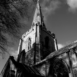 Holbeach Church by Gareth Dickin - Buildings & Architecture Places of Worship ( clouds, gothic, sky, tree, church, stone )