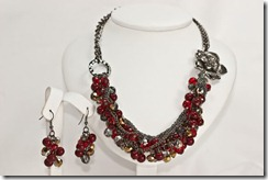 Lg Rusty Red Beads with Antique Silver Flower Set