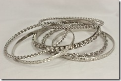 Lg Silver Bangles with rhinestone bangle