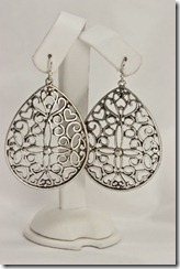 Lg Pewter Teardrop Filigree Earrings