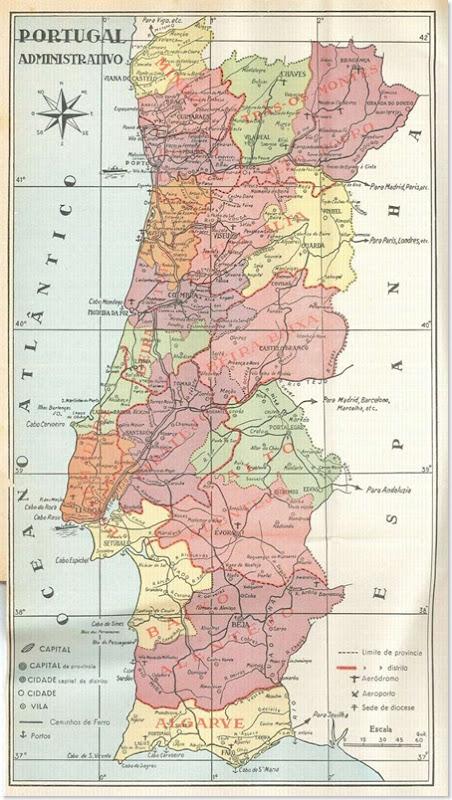 mapa administrativo de portugal santa nostalgia 800
