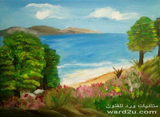 منظر طبيعي بالوان الاكريليك من اعمالى