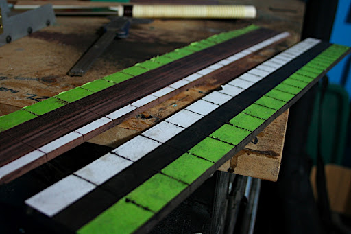 The fretboards for Proto 1 (rosewood) and Proto 2 (ebony) were slotted and glued to the necks after the truss rods were inserted.