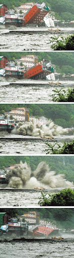 金帥飯店垮了!水蝕地基 栽入知本溪