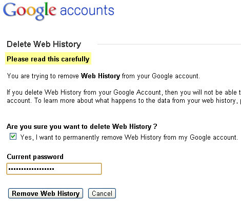 Delete Google Web History