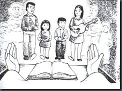 Familia canta y da las ofrendas en la misa