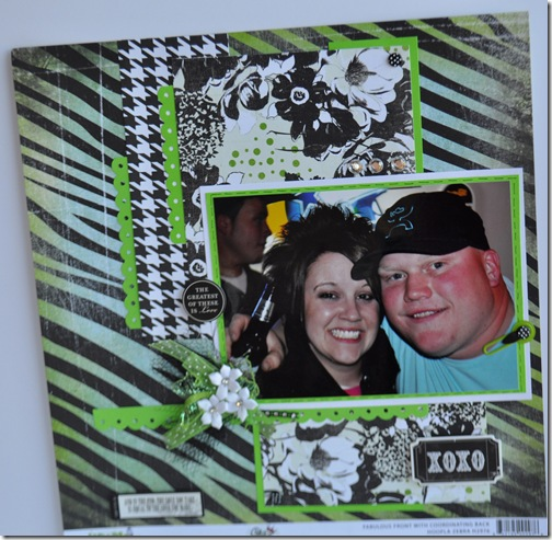 GREEN AND BLACK 12X12 SCRAPBOOKING PAGE