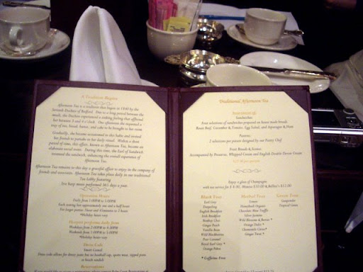 Afternoon Tea menu at the Drake