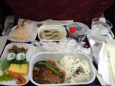 Airline food and pretty lights from my Asia work trip
