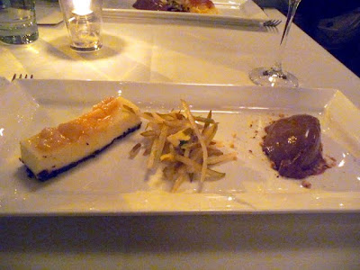 Bosc Pear and Triple Cream Cheesecake with chocolate hazelnut cookie crust, pear salad, nutella semifreddo