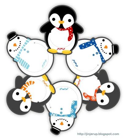 Jinjerup Freebie of the week Christmas Penguin Snowmen Bookmarks – Christmas Bookmark Templates