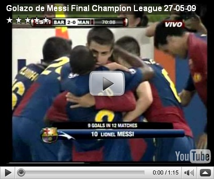 Golazo de Messi en la final de la Champion League 2009 (Origen ...