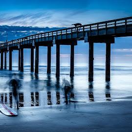 Dawn Surfing by David Long - Buildings & Architecture Bridges & Suspended Structures ( st john pier, saint augustine, florida )