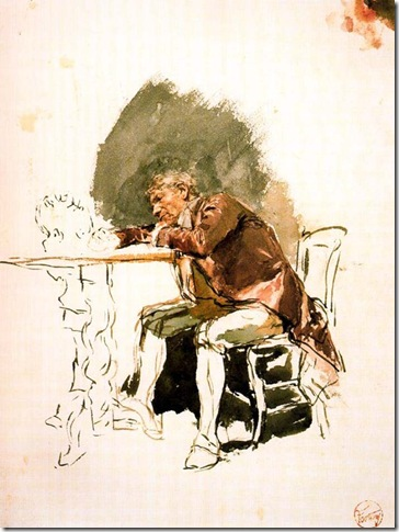 Fortuny - hombre acodado en una mesa