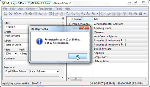 Figure 5 – Mp3tag listing 10 MP3 files after the batch processing