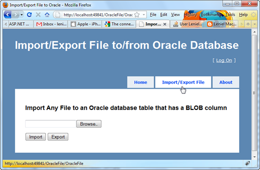 Oracle Import Export File ASP.NET MVC Application