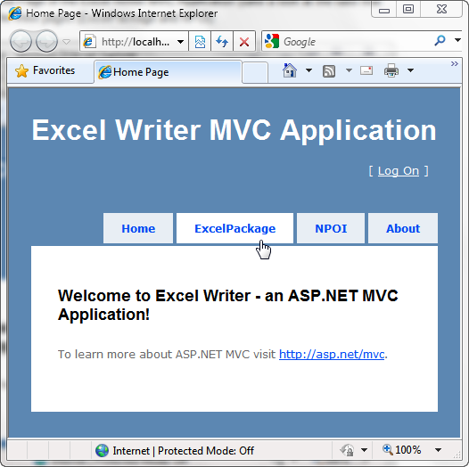 Excel Writer Home Page