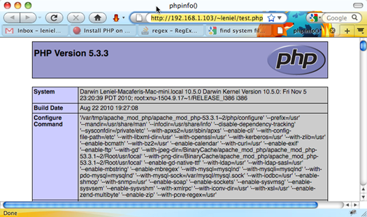Testing PHP installation with its own configuration's information